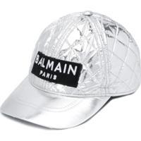 Balmain Kids Quilted Baseball Cap - Prateado