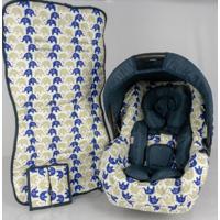 Conjunto Capa Para Bebê Conforto Com Acolchoado Extra E Capa De Carrinho - Alan Pierre Baby - Passinho Do Elefantinho Azul