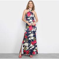 Vestido Edivi Longo Floral Decote Cruzado - Feminino-Azul