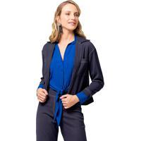Casaqueto Mx Fashion Com Bolsos Collins Azul Marinho - Kanui
