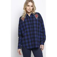 Camisa Xadrez Com Patches- Preta & Azul Marinho- Herhering