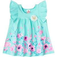 Vestido Com Barrado Floral - Azul & Rosa Clarobrandili