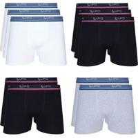 Cueca Lupo Boxer Kit Com 10 Unidades + Meia Lupo Sapatilha Kit Com 3 Unidades - Masculino-Branco+Preto