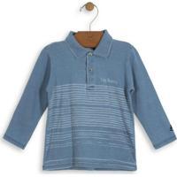 Camisa Polo Infantil Estonada Azul