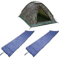 Kit Barraca De Camping Tipo Iglu Kongo 3 Pessoas + 2 Colchonetes Camp Mat Nautika - Unissex