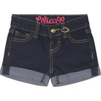 Short Jeans Com Pespontos - Azul Marinholilica Ripilica E Tigor T. Tigre