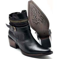 Bota Top Franca Shoes Country Bico Fino Feminina - Feminino-Preto
