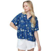 Camisa Bolso E Gola Ilha Est Ilhas Azul Marinho/ Verde Menta - 34