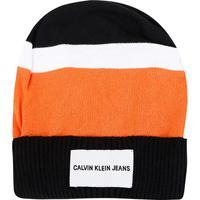 Gorro Calvin Klein Tricolor Etiqueta Logo - Masculino-Preto