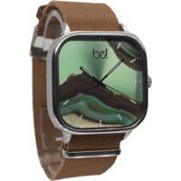 Relógio Bewatch Pulseira De Couro Marrom Esmeralda