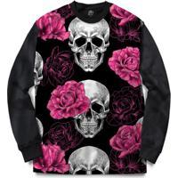 Blusa Bsc Skull Pink Rose Full Print - Masculino-Preto