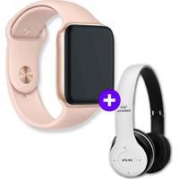 Kit Smartwatch Iwo8 44Mm Dourado + Headphone Bluetooth P47 Branco