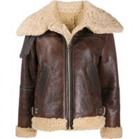 Sandro Paris Shearling Trim Zip-Front Jacket - Marrom