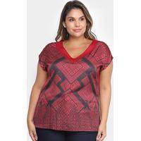 Blusa Cativa Mais Estampada Plus Size Feminina - Feminino-Vermelho