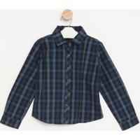 Camisa Xadrez- Azul & Preta- Pequena Maniapequena Mania