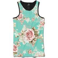 Camiseta Bsc Regata Flowery Sky Full Print - Masculino-Preto