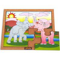 Quebra Cabeça Com Pinos Modelo Elefantes Com 4 Peças - Kanui