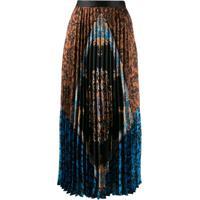 Sandro Paris Pleated Midi Skirt - Marrom