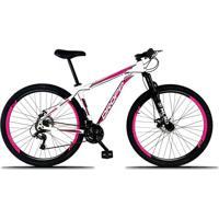 Bicicleta Aro 29 Quadro 17 Alumínio 21 Marchas Freio A Disco Mecânico Branco/Pink - Dropp