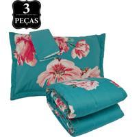 Kit Colcha Queen Buddemeyer Matisse Percal 200 Fios 3 Peças Azul