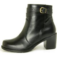 Bota Cano Curto Over Boots Isabela Couro Preto - Tricae