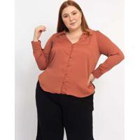 Camisa Almaria Plus Size Pianeta Ampla Creponada V