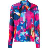 Msgm Camisa Com Estampa Abstrata - Rosa