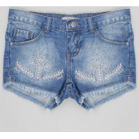 Short Jeans Infantil Com Bordado De Ramos E Barra Desfiada Azul Médio