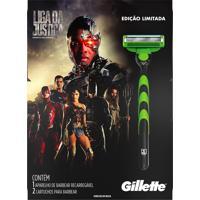 Aparelho De Barbear Gillette Mach3 Sensitive Liga Da Justiça + 2 Cargas