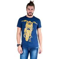 Camiseta Mister Fish Estampado Motorcycle Masculina - Masculino-Marinho