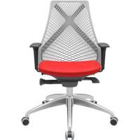 Cadeira Office Bix Tela Cinza Assento Aero Vermelho Autocompensador Base Alumínio 95Cm - 63987 - Sun House