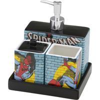 Jogo Para Banheiro Homem Aranha®- Azul & Preto- 4Pçsmabruk