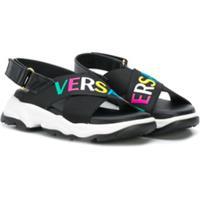 Young Versace Sandália Com Estampa De Logo E Fechamento No Tornozelo - Preto