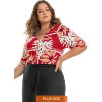 Blusa Estampada Rovitex Plus Size Vermelho