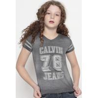 """Blusa """" Calvin 78""""- Cinza & Prateada- Calvin Kleincalvin Klein"""