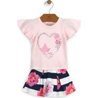 Conjunto De Blusa + Saia Floral- Rosa Claro & Azul Marinup Baby - Up Kids
