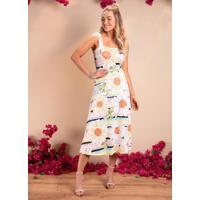 Vestido Margaridas Midi Com Alças Largas