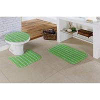 Jogo De Banheiro Filete Verde 3 Peças - Gera Tapetes