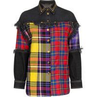Versace Camisa Jeans Com Recortes Xadrez - Preto
