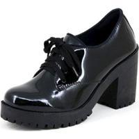 Oxford Cr Shoes Verniz Feminino - Feminino-Preto