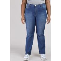 Calça Jeans Feminina Plus Size Reta Cintura Alta Azul Médio