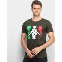 Camiseta Kappa Italian Masculina - Masculino-Verde Militar