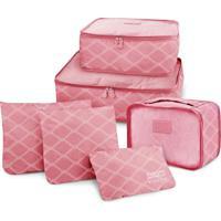 Kit Organizador De Malas De 6 Peã§As Estampado Jacki Design Rosa - Rosa - Dafiti