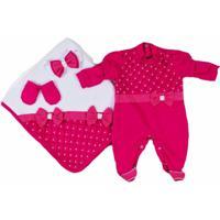 Saída De Maternidade Menina 4 Peças Pérolas Pink