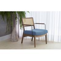 Poltrona Para Sala Palhinha Lavanda - Aço Preto Verniz Capuccino Tec.930 Azul Claro 63,5X64X78 Cm