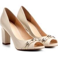 Peep Toe Couro Shoestock Salto Grosso Metais - Feminino