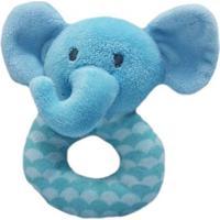 Chocalho E Mordedor De Pelúcia - Elefantinho Azul - Minimi