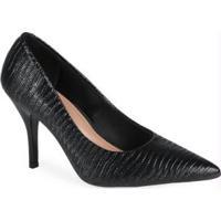 Sapato Scarpin Feminino Conforto Lezard Preto Preto