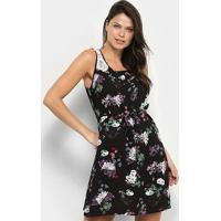 Vestido Curto Efa Renda Amarração Floral - Feminino-Preto+Roxo