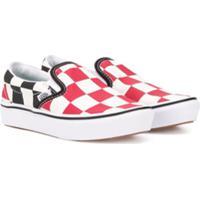 Vans Kids Tênis Slip-On Xadrez - Vermelho